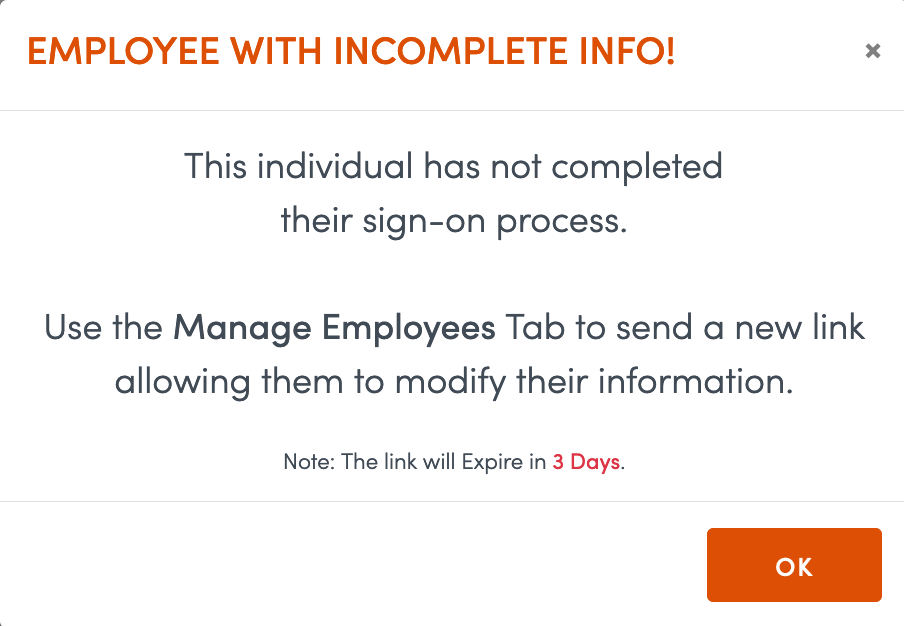 Incomplete employee information will interrupt testing.