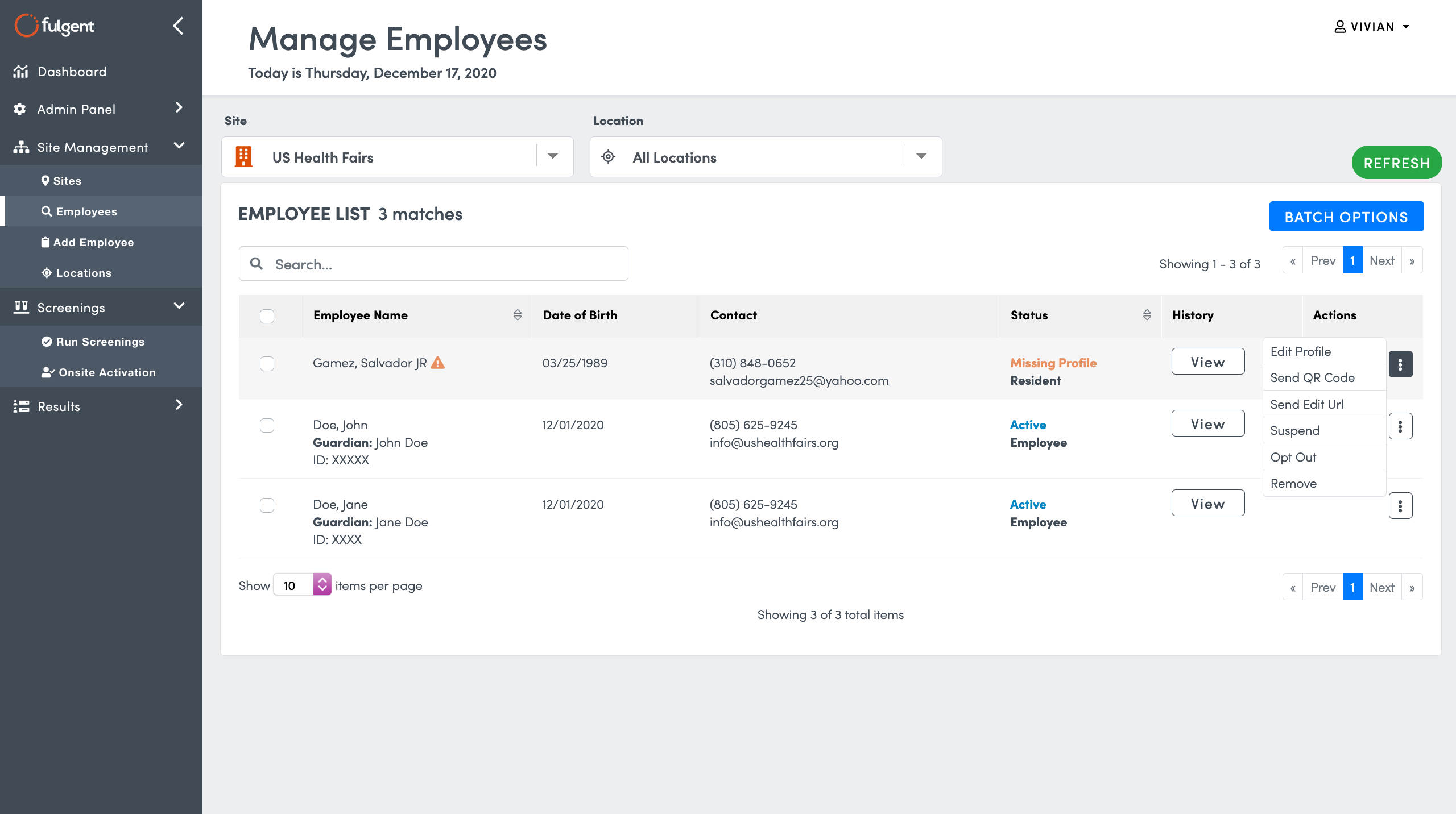 Use the right menu to make changes to Employee Registrations