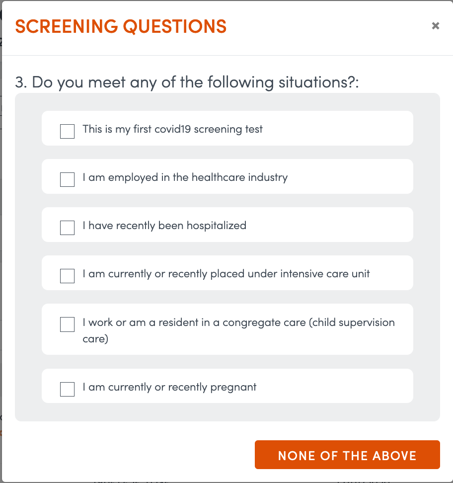 Several Screening Questions will appear.